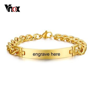 Vnox Stainless Steel Mens ID Bracelets Bangle Gold Color Curb Link Chain Spring Closure Customize Name Date Info Male Boy Bijoux
