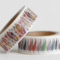 Feather Washi Tape, Tribal Feather Heart and Pop Art Feather for Day Planner Accessories or Life Planner Stickers, 15mm