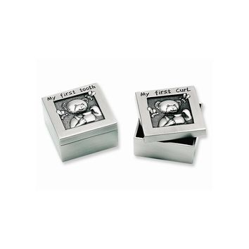 Pewter Finish Teddy First Tooth and First Curl Set - Engravable Gift Item
