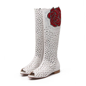 Red Roses flower Flat shoes