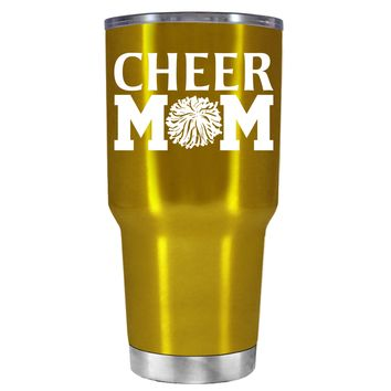 Cheer Mom Pom Pom on Translucent Gold 30 oz Tumbler Cup
