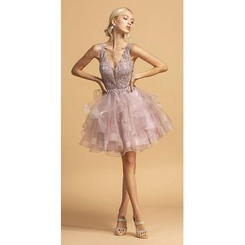Mauve Tiered Homecoming Short Dress with Appliques