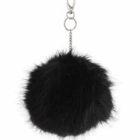 Large Fluffy Pom Bag Charm - Black