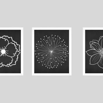 Set of 3 White Flower Blossoms on Black Chalk Prints CUSTOM COLORS Modern Art Prints for Nursery Decor Custom Colors Modern prints  8x10