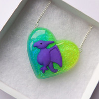 Baby Dinosaur Resin Heart Shaped Necklace Glittery Pendant Purple Yellow Blue Green pterodactyl Cute Kitsch Kawaii Jewellery