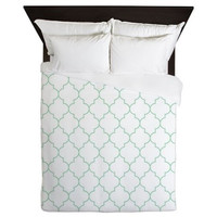 Duvet Cover - Mint Green Duvet Cover - Quatrefoil Duvet Cover - Green Quatrefoil - Mint Duvet - Girls Bedding - Teen Duvet Cover - Mint