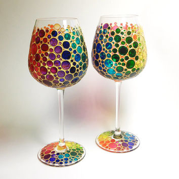 Two Multi Colored Bubbles Wine Glasses,  Hand Painted Glasswares
