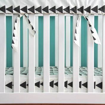 set of custom rail guards, bumperless crib bedding, pick your fabrics