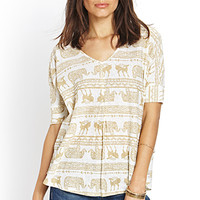 LOVE 21 Tribal-Inspired Knit Top Tan/Ivory Medium
