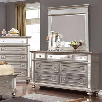 Gracious Slickly Designed Contemporary Style Wooden Dresser, Silver