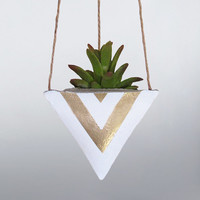 Air Planter, Air Plant Holder, Succulent Planter, Hanging Planter, Concrete Planter, White Gold Planter, Modern Planter, Cement Planter