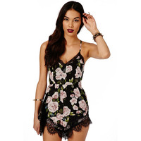Women Jumpsuit Summer Rompers Sexy Club Floral Lace Elegant Chiffon Bodycon Jumpsuit Playsuit Romper mujeres mono