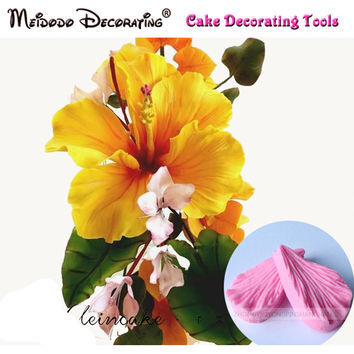 Hibiscus petal flower Veiner Mould cake decorating tools fondant mold tools cutter cupcake mold baking cookie cutter
