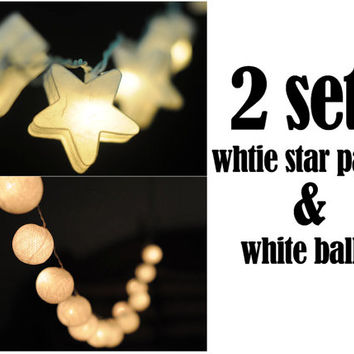 2 sets of white cotton ball and white star paper lantern string light decoration hanging light night bedroom wedding party light