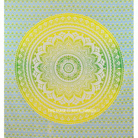 Yellow Multi Cotton Mandala Roundie Ombre Wall Tapestry Bedding on RoyalFurnish.com