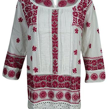 Mogul Womens White Chikan Tunic Top Cotton Floral Embroidered Boho Indian Shirt Blouse