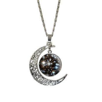Galaxy Moon Cabochon Silver Chain Pendant Necklace