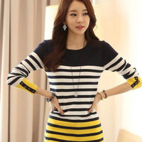 Color Block Long Sleeve Striped Knitted Top