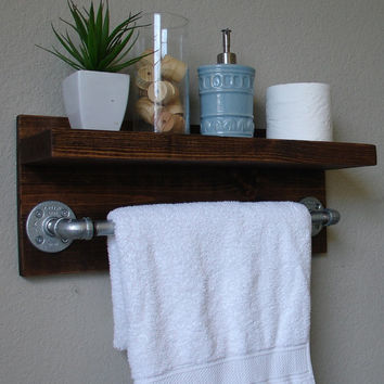 "Industrial Rustic Modern Bathroom Wall Shelf with 18"" Towel Bar (5.5"" Deep Shelf)"