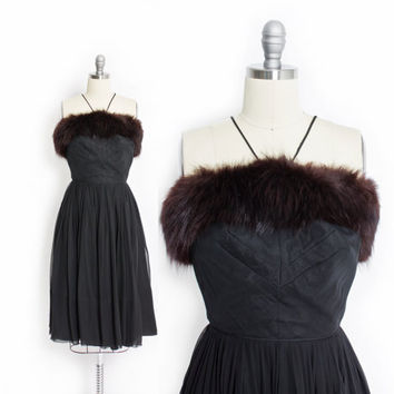 Vintage 50s Dress  Black Chiffon FOX FUR Full Skirt Cocktail Party Dress 1950s - Extra Small XS