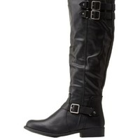 Black Round Toe Riding Boots by Dollhouse at Charlotte Russe