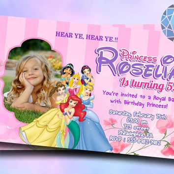 Princess Disney Design For Birthday Invitation