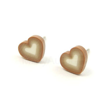 Heart Earring Studs - Tiny Heart Earring Posts - Ombre Earrings - Heart Jewelry - Beige Brown White - Everyday Jewelry