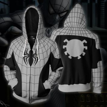 Superhero Armored Spiderman Gray Black 3D Print Hoodies Sweatshirts Cosplay