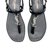 Saint Laurent Leather Nu Pieds Slingback Sandals in Black | FWRD