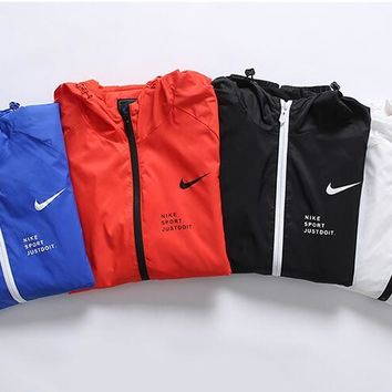 """NIKE"" Fashion Men Women Simple Print Hooded Zipper Cardigan Jacket Coat Windbreaker"