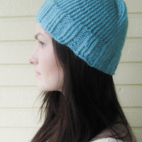 Blue knitted beanie, beanie, knitted hat, basic beanie, unisex beanie, winter accessories, winter fashion, autumn accessories