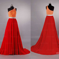 one shoulder prom dresses, chiffon prom dresses, long prom dresses, cheap prom dresses, prom dress 2014, dresses for prom, RE459