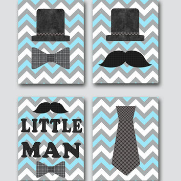 Kids Wall Art Little Man Nursery Baby Nursery Decor Baby Boy Nursery Baby Room Decor Kids Art Nursery Print Boy Art set of 4 Blue Gray /
