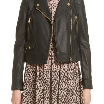 Burberry Patternsby Lambskin Leather Moto Jacket (Nordstrom Exclusive) | Nordstrom