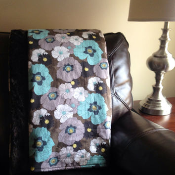 Adult Size Minky Blanket, Throw, Lap Quilt Teal, Turquoise, Brown, Yellow