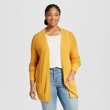 Women's Plus Size Long Sleeve Open Layering - Mossimo Supply Co.(Juniors')