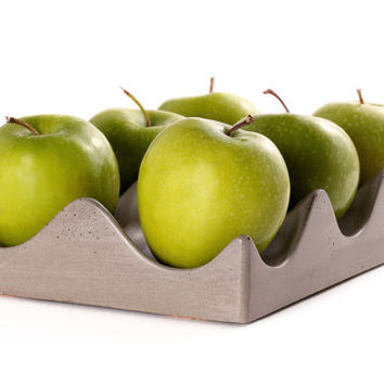 Concrete Hexi-Bowl. Fruit Bowl. Egg Crate Display.