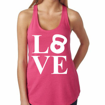 Love Kettlebell Tank Women's Gym Workout Fitness Booty Funny Muscle