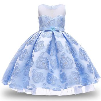 Baby Girl Princess Ball Gown Dress Flower Lace Children Party Kids Wedding For Girls Sleeveless Christmas Clothing