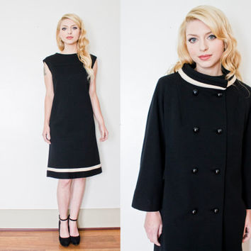 Vintage 1960s LILLI ANN Coat & Dress Black Wool Knit Shift Mod Set  - Medium / Large