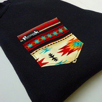 Patchwork Apparel — Red Aztec Pocket Crew Neck Unisex