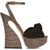 Charlotte Olympia - Vreeland croc-effect leather and suede platform sandals