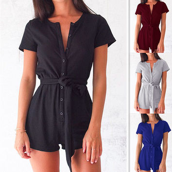 Sexy Short Sleeve Jumpsuit