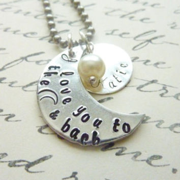 Hand stamped I love you to the moon and back Mommy necklace layered Personalized jewelry