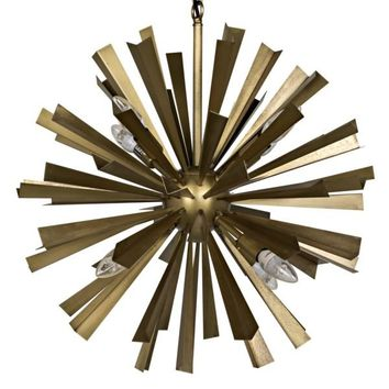 Chandelier, Metal w/Brass Finish