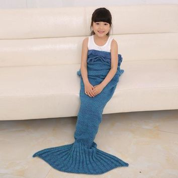 Knitted Flouncing Sleeping Bag Mermaid Tail Blanket For Kids