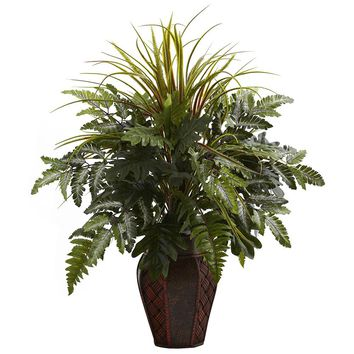 Silk Flowers -Mixed Grass And Fern With Decorative Planter Artificial Plant
