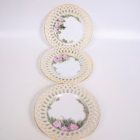 Antique Victoria Austria Plates Reticulated Laced Edges Hand Painted Lattice Work Pink Roses Set of 3 Dishes 1916