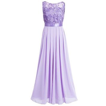 Lace Women Ladies Sleveless Embroidered Chiffon Bridesmaid Dress Long Party Pageant Wedding Formal Summer Dresses