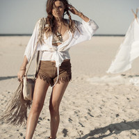 Cowgirl Dreams Tassel Shorts - Taupe | Spell & the Gypsy Collective